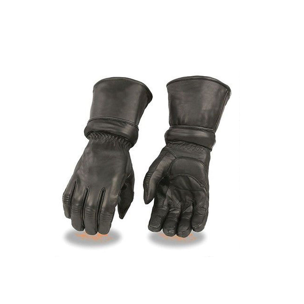 MEN'S GENUINE LEATHER ULTRA LONG GUANTLET THERMAL LINED GLOVES WITH ZIPOFF CUFF