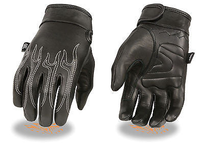 MEN'S MOTORCYCLE GENUINE LEATHER BUTTER SOFTGLOVES  W/ FLAME EMBROIDERED BLACK
