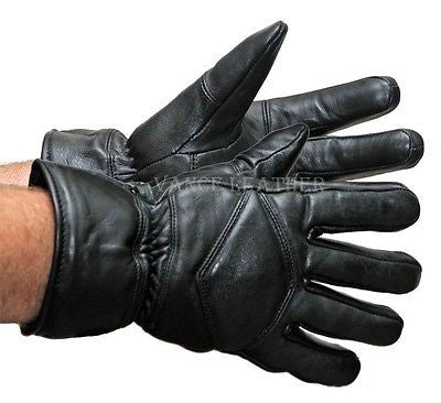 MEN'S MOTORCYCLE GLOVES RIDING GLOVE INSULATED GAUNTLET GLOVES LAMB SKIN BLACK