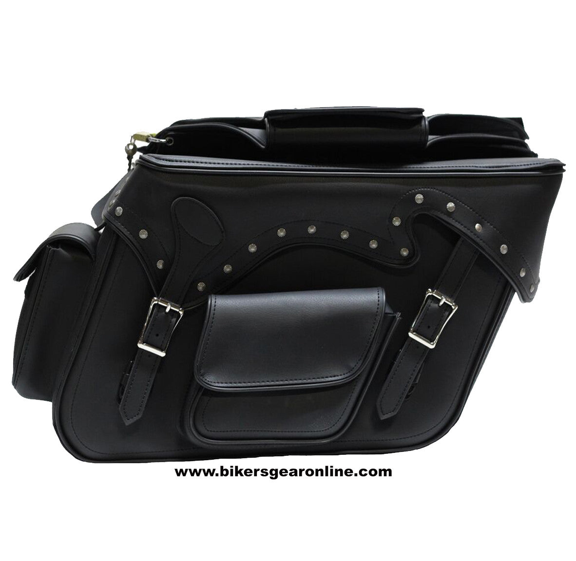 TWO PIECE MOTORCYCLE 2 STRAP STUDDED ZIP OFF PVC SADDLEBAG