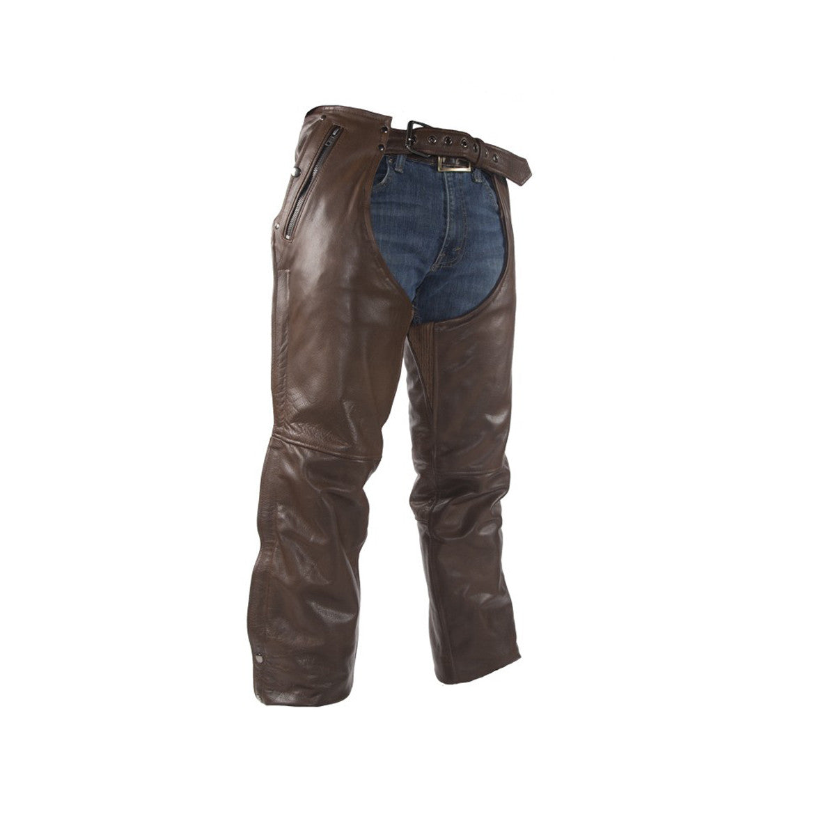 Brown Leather Chaps With Removable Liner