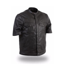 MEN'S LIGHTWEIGHT SHORT SLEEVE LEATHER SHIRT