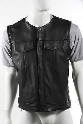 MEN'S MOTORCYCLE LEATHER VEST COLLARLESS CLUB VEST