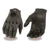 Men's American Deer skin perforated driving leather gloves with snap closure