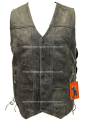 Men's Distressed Grey 10 Pocket Utility Vest (Gray)