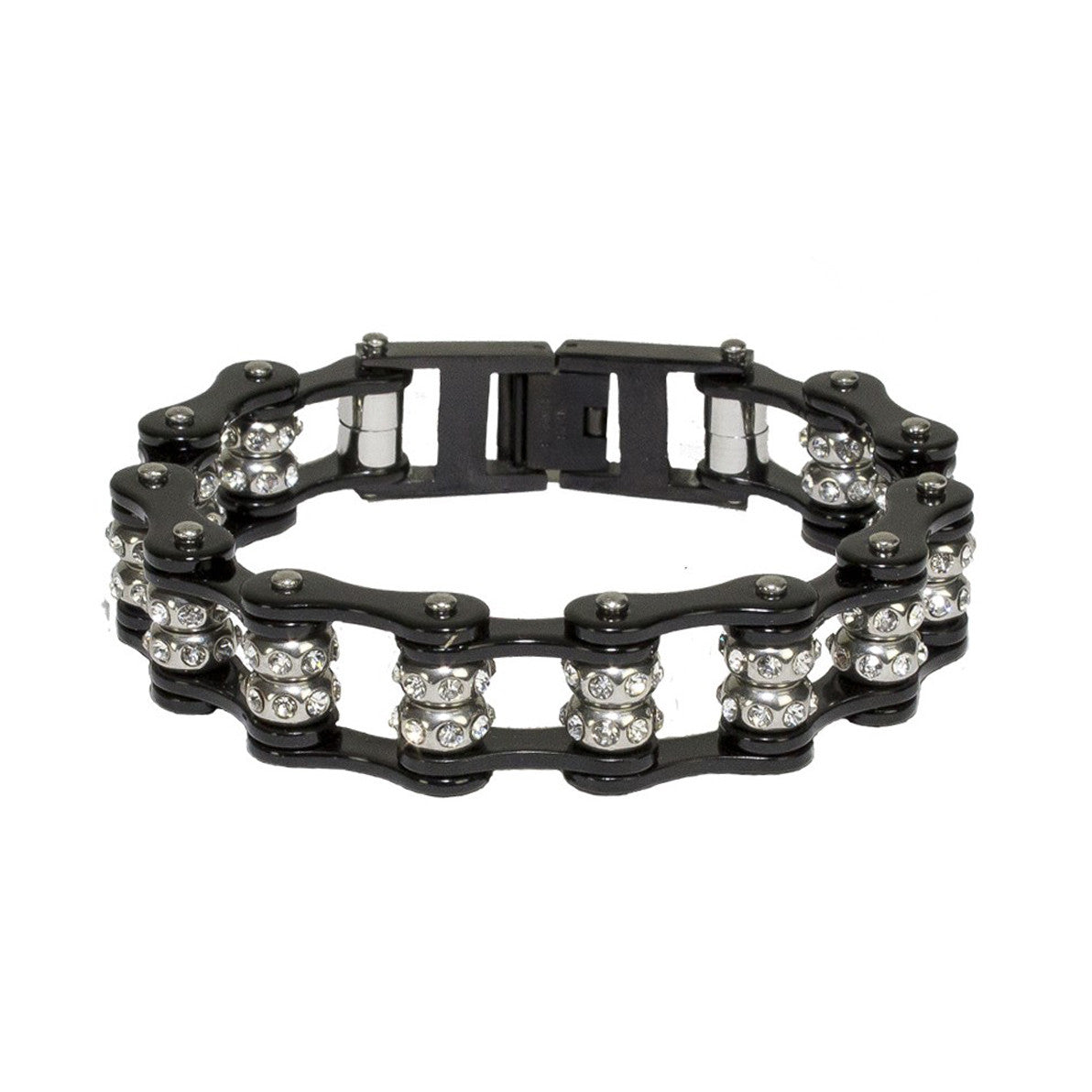 Black Motorcycle Chain Bracelet with Gemstones