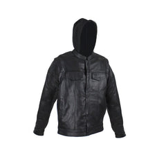 Black Leather Jacket with Removable Sleeves & Hoodie