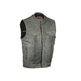 Concealed Snaps, Premium Naked Cowhide, Hidden Zipper, w/o Collar - Gray
