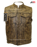 Distressed Brown Leather Motorcycle Club Vest W/ Gun Pockets