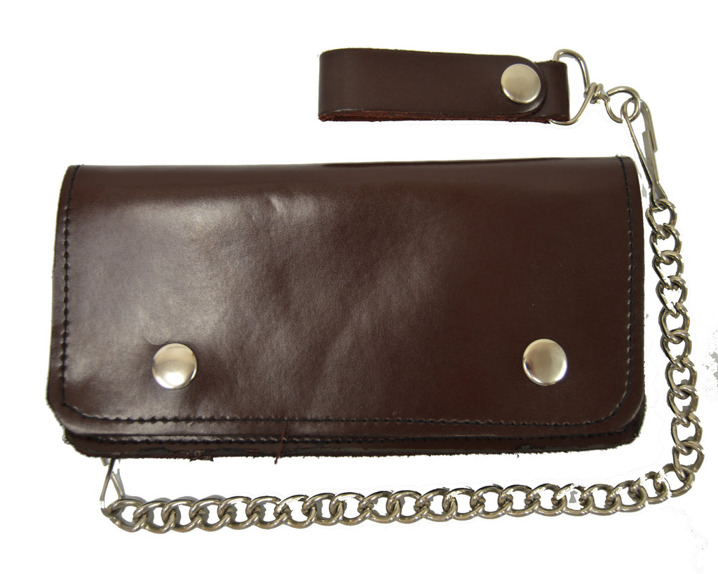 Brown Bi fold Motorcycle Chain Wallet