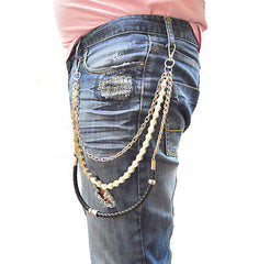 BIKERS HEAVY DUTY WOVEN CHROME JEANS WALLET KEY CHAIN 25 INCH SILVER DURABLE