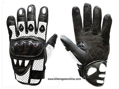 MEN'S MOTORCYCLE RACING PADDED LEATHER WHITE GLOVES W/ HARD KNUCKLES PROTECTION