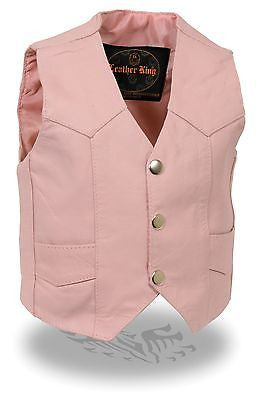 KIDS MOTORCYCLE COWHIDE GENUINE LEATHER PINK RIDING BIKER VEST FOR BOYS & GIRLS