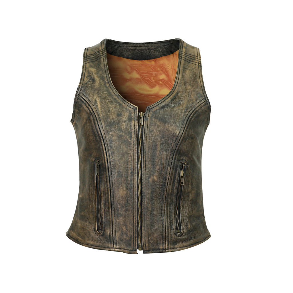 HIGH MILEAGE WOMEN'S DISTRESSED BROWN THREE-ZIPPER COWHIDE LEATHER VEST