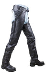 BLACK LEATHER RIDING CHAP PANTS REMOVABLE LINER