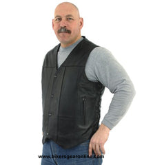 BIKERS COWHIDE SIDE LACES LEATHER VEST W/ 2 GUN POCKETS