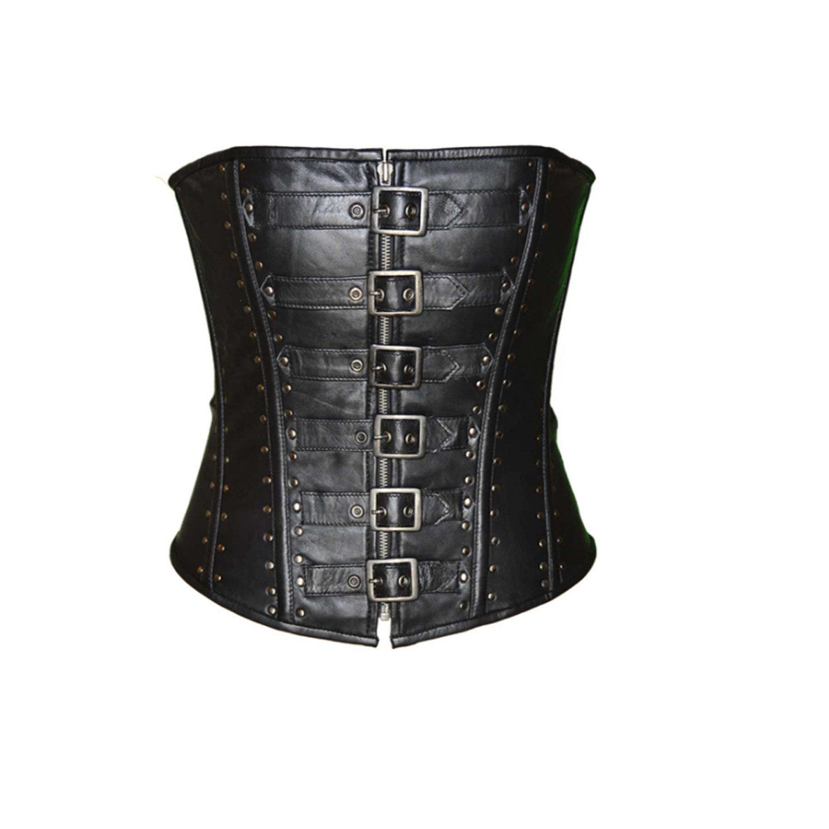 LADIES CORSET 6 BUCKLE ZIP FRONT STUDDED