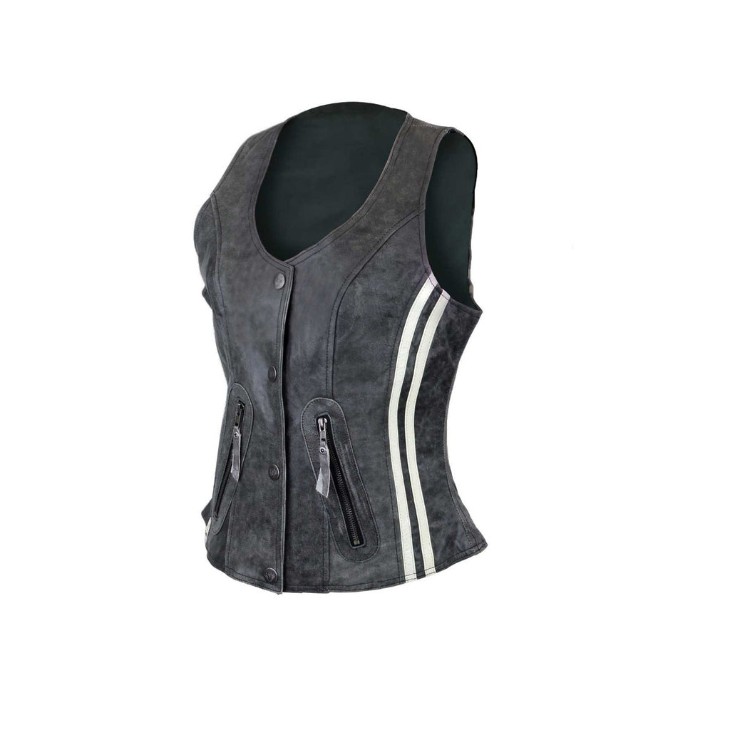 LADIES DISTRESSED GRAY VEST WITH VERTICAL STRIPES