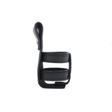 Black Leather Motorcycle Cup Holder with Button Snaps