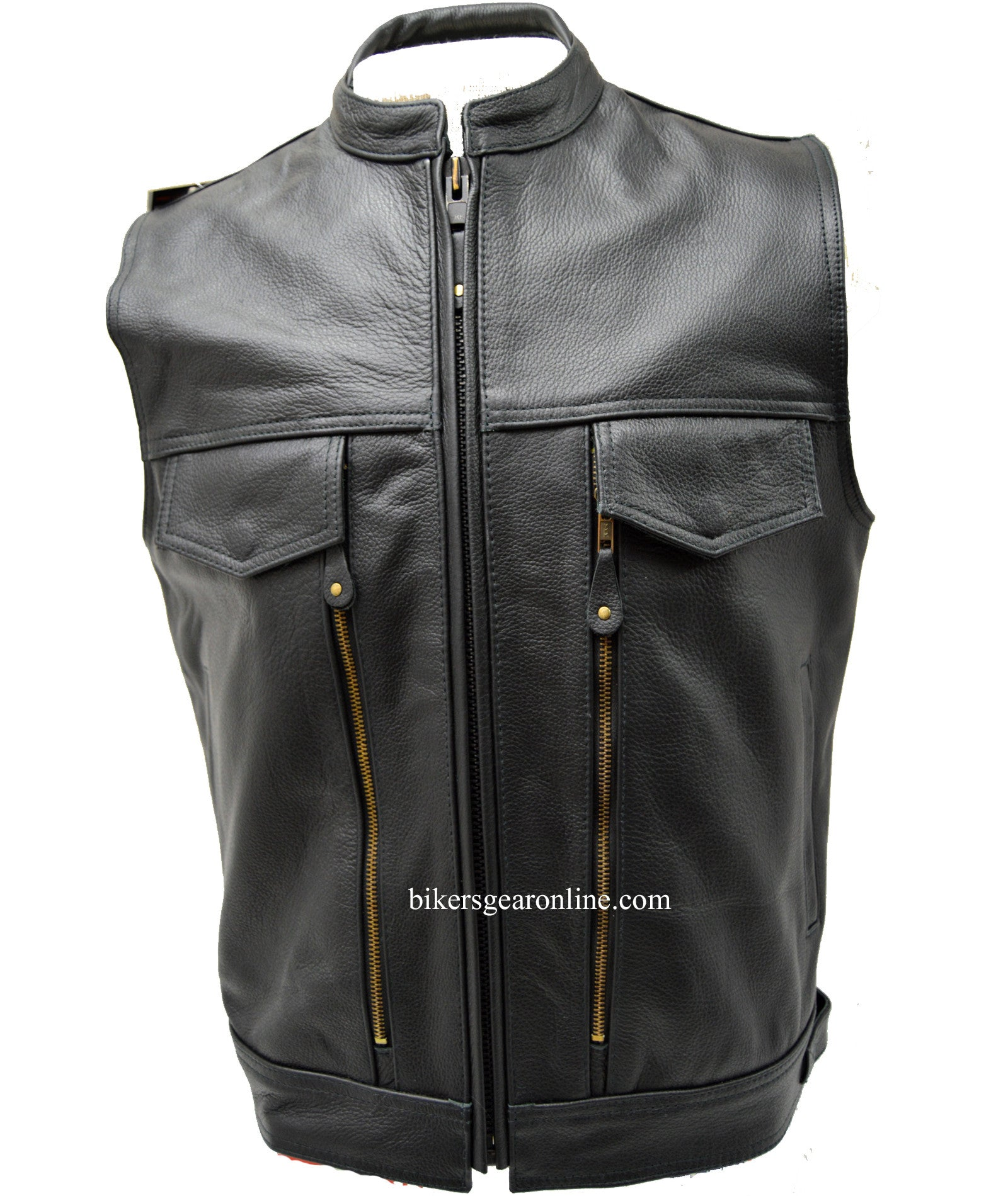 BIKERS CLUB VEST SPEEDSTER LEATHER VEST 3 GUN POCKETS