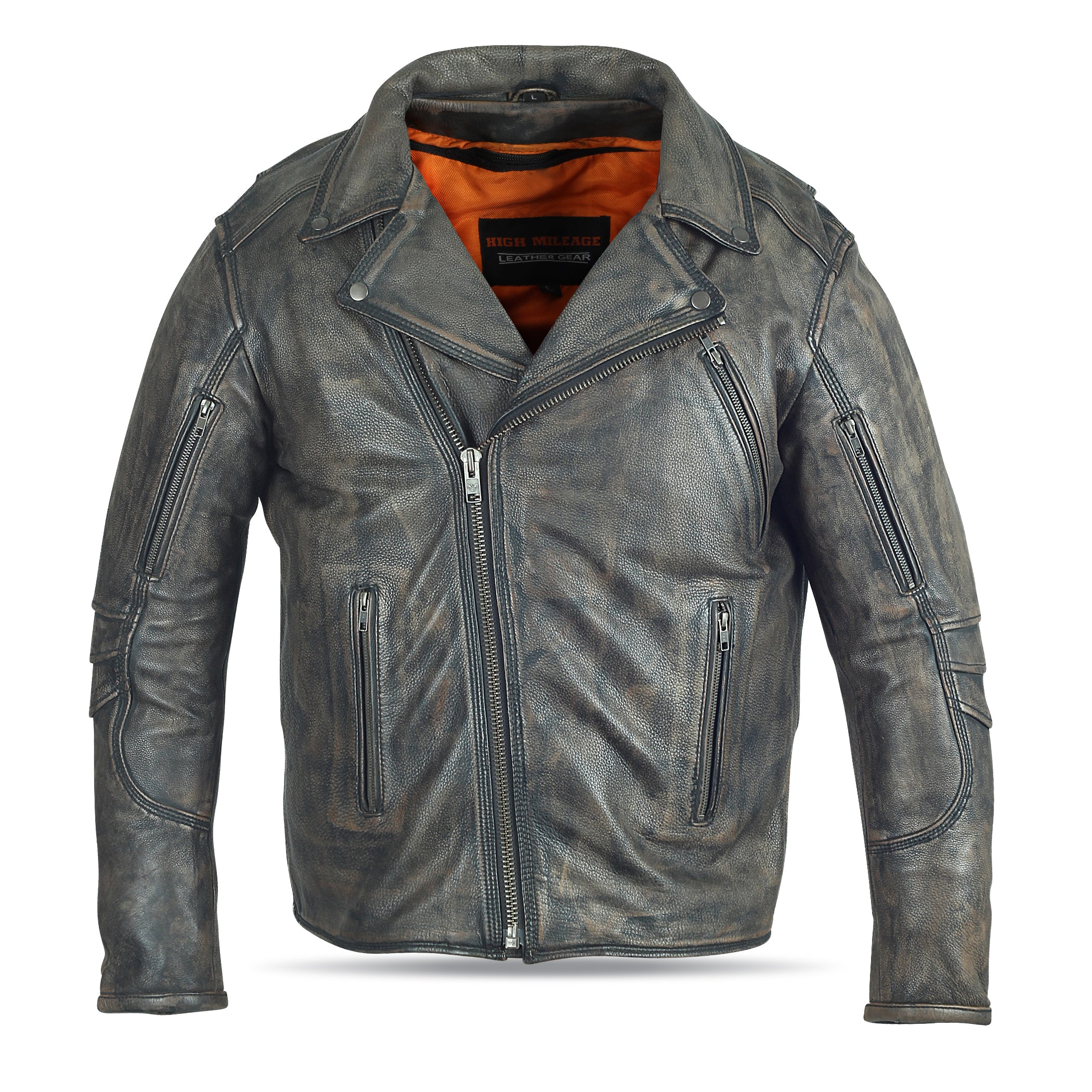 MEN'S POLICE TRIPLE STITCH DISTRESSED BROWN LEATHER JACKET