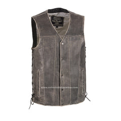 Men's Distressed Grey Side Laces Utility Vest