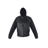 Black Leather Jacket with Removable Canvas Sleeves & Hoodie