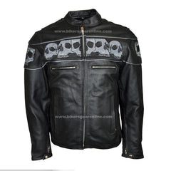 MEN'S REFLECTIVE SKULLS CROSSOVER LEATHER JACKET
