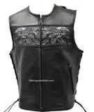MEN'S REAL LEATHER VEST W/ REFLECTIVE SKULLS