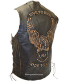 MEN'S MOTORCYCLE BIKERS RETRO BROWN LEATHER VEST EAGLE EMBOSSED BACK SIDE LACES