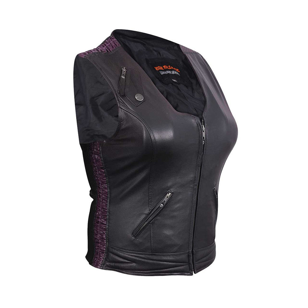 LADIES PREMIUM LEATHER VEST WITH LEATHER SCRUNCH SIDES