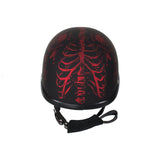 Matte Burgundy Novelty Motorcycle Helmet with Horned Skeletons