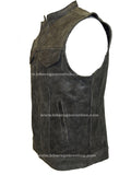 Distressed Grey Leather Motorcycle Club Vest W/ Gun Pockets