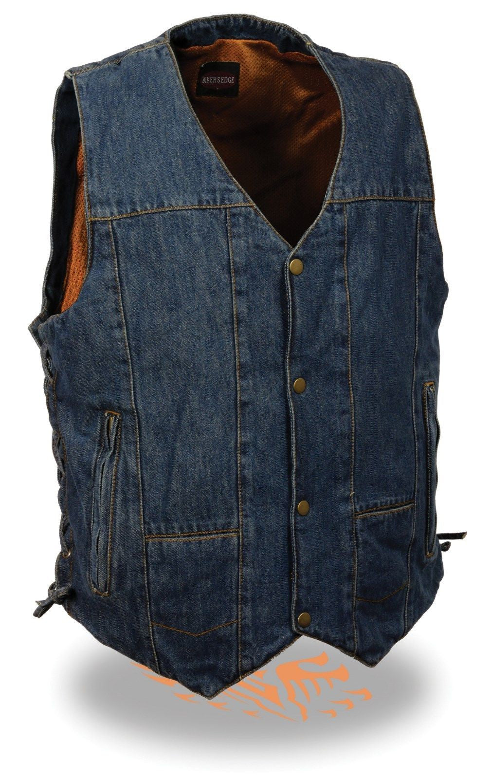 8 POCKETS BLUE DENIM COTTON BIKER VEST SIDE LACES