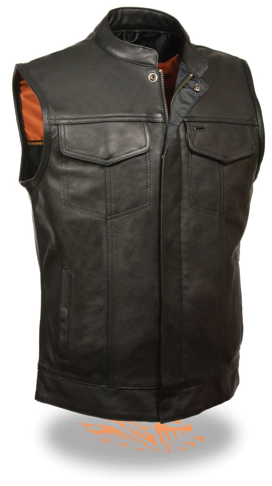 MEN'S CLUB LEATHER VEST W/GUN POCKETS ZIPPER