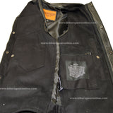 MEN'S CLUB BLACK DENIM VEST W/LEATHER TRIMMING & ZIPPER
