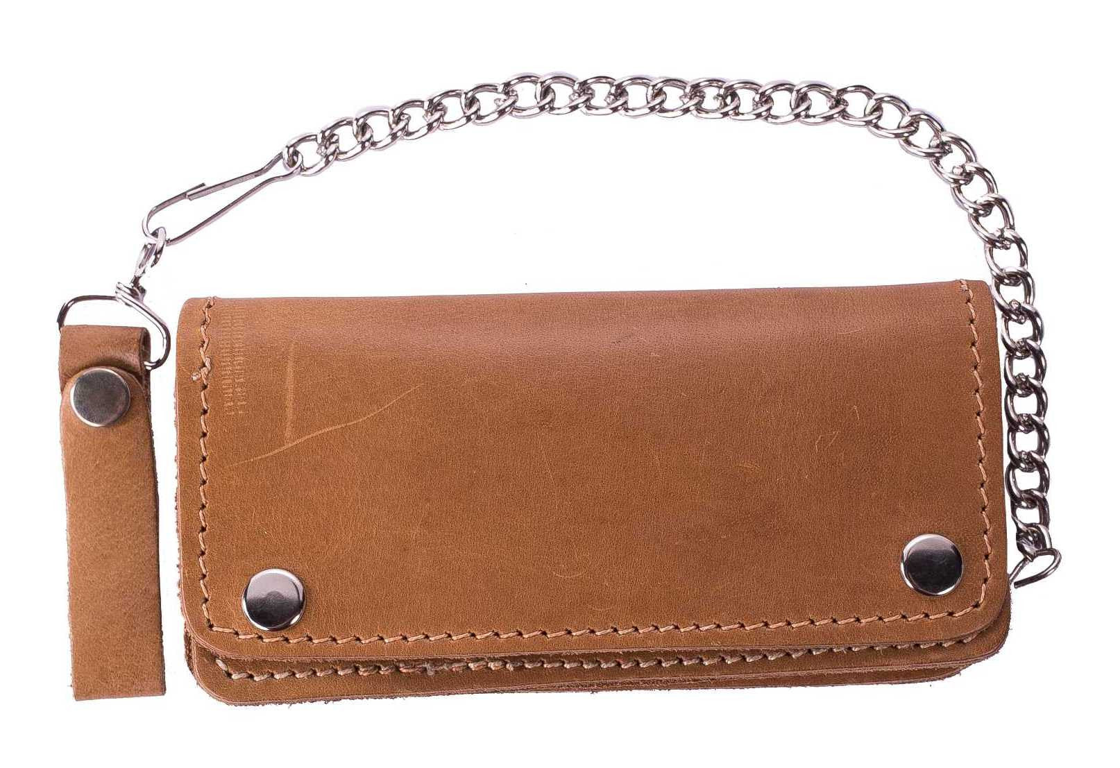 Tan Bifold Motorcycle Chain Wallet
