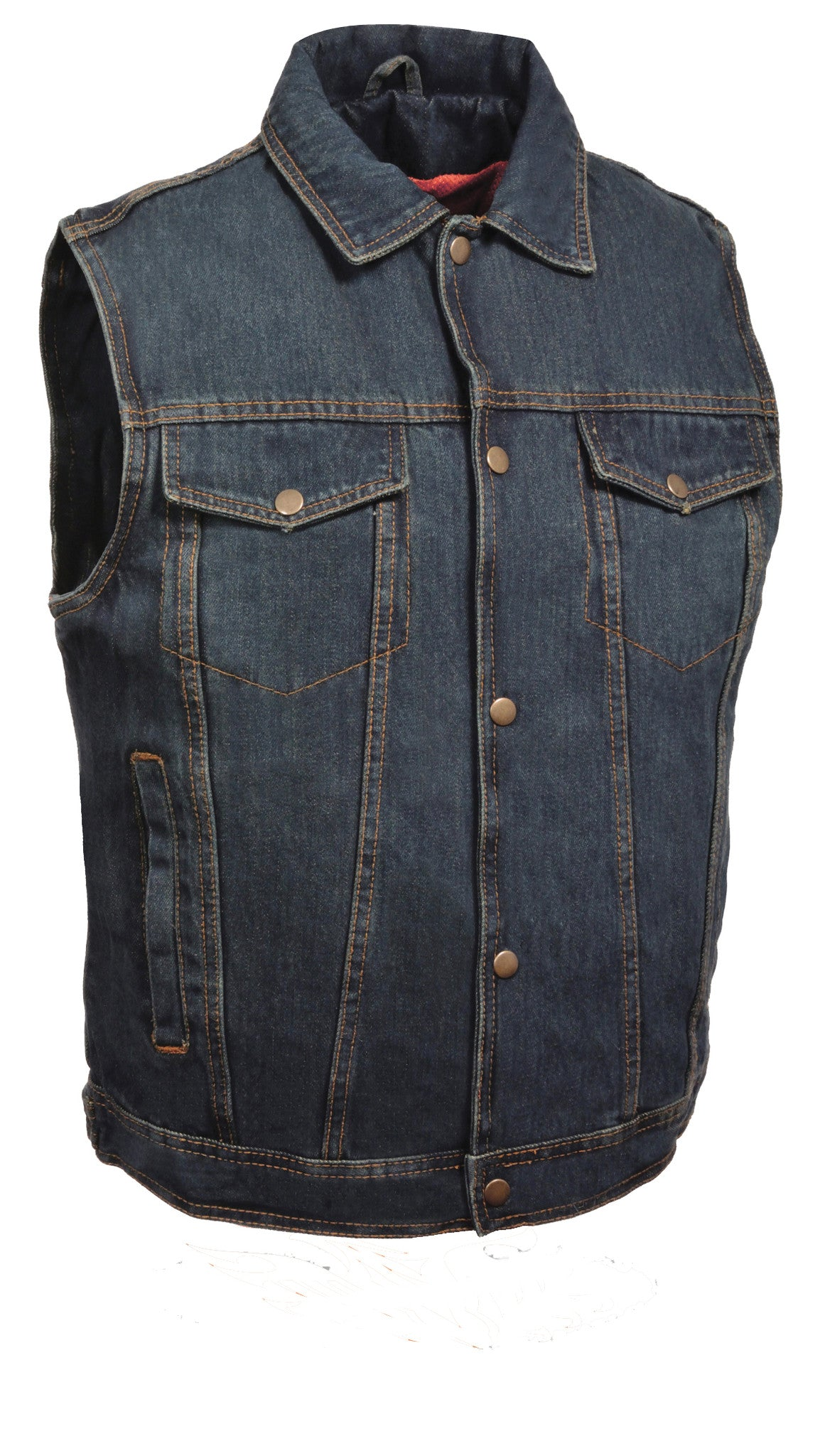 MEN'S RIDING SHIRT COLLAR BLUE DENIM VEST 100% COTTON W/ GUN POCKETS