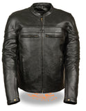 MEN'S GENUINE LEATHER JACKET SCOOTER STYLE