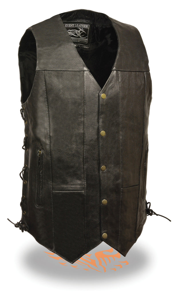 "10 POCKETS TALL LENGTH 3"" LONGER BIKERS LEATHER VEST SIDE LACE"