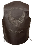 MEN'S BROWN RIDE TO LIVE EMBROIDERED VEST W/SIDE LACES