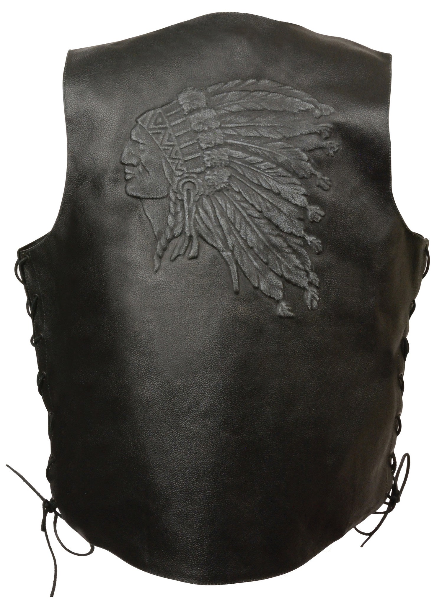 MEN'S BLACK INDIAN HEAD EMBROIDERED VEST W/SIDE LACES