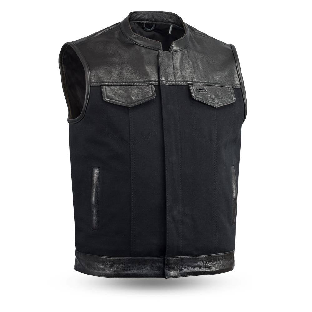 MEN'S RIDING MOTORCYCLE LEATHER/ CANVAS VEST