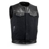 MEN'S RIDING MOTORCYCLE LEATHER/ CANVAS VEST COLLARLESS