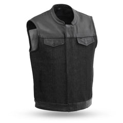 49/51 Men's Denim & Leather Combo Vest