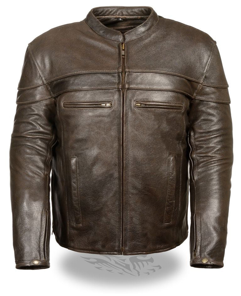 MEN'S RETRO BROWN SPORTY SCOOTER CROSSOVER REFLECTIVE JACKET