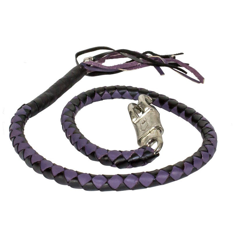 "BLACK PURPLE 42"" LEATHER GET BACK WHIP"