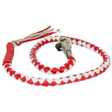 "RED & WHITE 40"" LEATHER GET BACK WHIP"