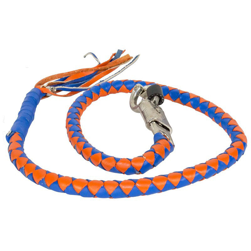 "BLUE & ORANGE 42"" LEATHER GET BACK WHIP"
