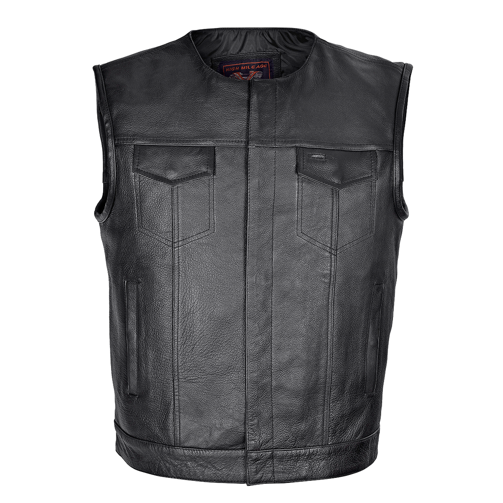 MEN'S ZIPPER AND SNAP CLOSURE LEATHER MOTORCYCLE CLUB VEST QUICK ACCESS GUN POCKET